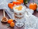 Рецепта Чия пудинг с фреш от портокал, бадемово мляко, орехи и мед